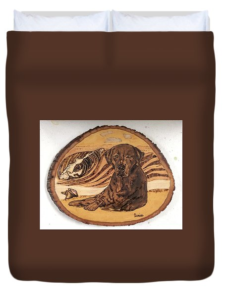 Duvet Cover featuring the pyrography Seaside Sam by Denise Tomasura