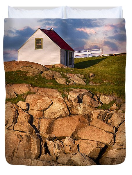 Duvet Cover featuring the photograph Seaside Shed At Sunset by Betty Denise