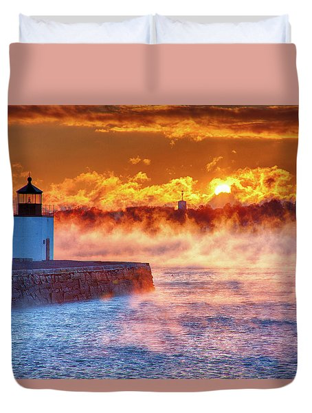 Seasmoke At Salem Lighthouse Duvet Cover