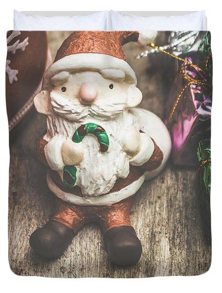 Seasons Greeting Santa Duvet Cover