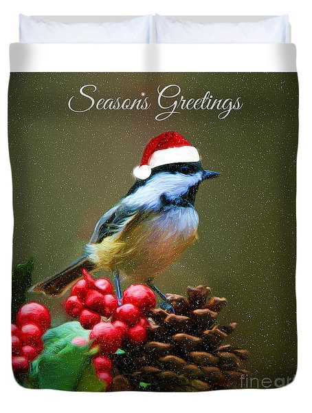 Seasons Greetings Chickadee Duvet Cover by Tina LeCour