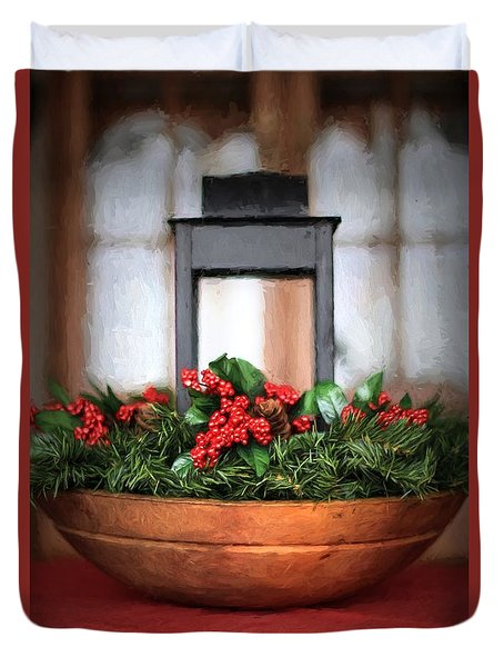 Duvet Cover featuring the photograph Seasons Greetings Christmas Centerpiece by Shelley Neff