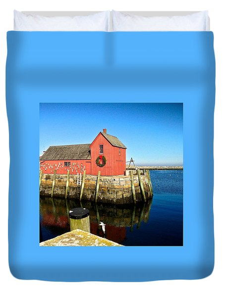 Season's Greetings Rockport Ma Duvet Cover