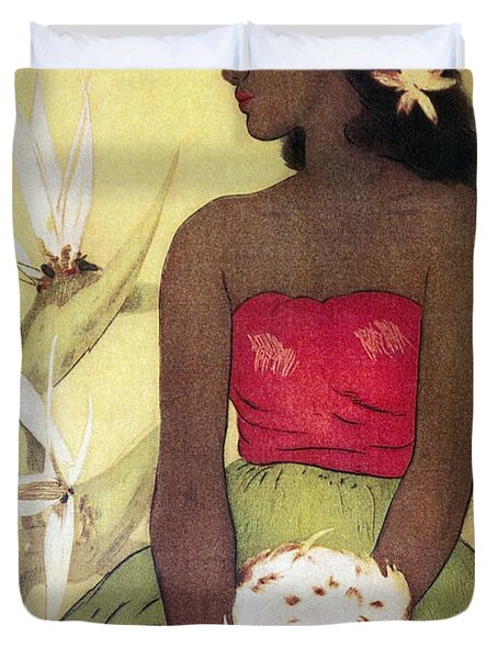 Seated Hula Dancer Duvet Cover by Hawaiian Legacy Archives - Printscapes