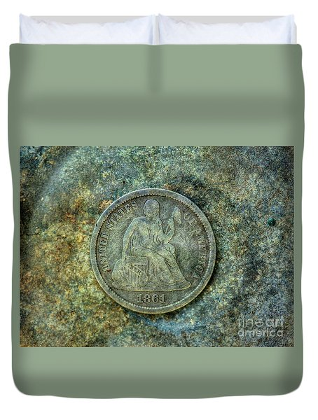 Duvet Cover featuring the digital art Seated Libery Dime Coin Obverse by Randy Steele