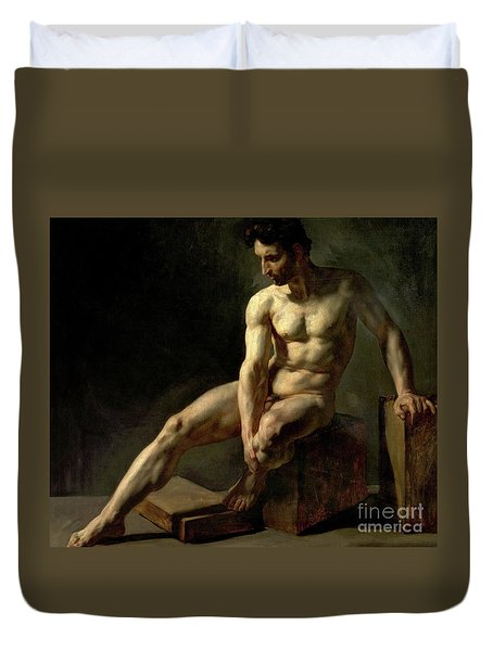 Seated Male Nude Duvet Cover