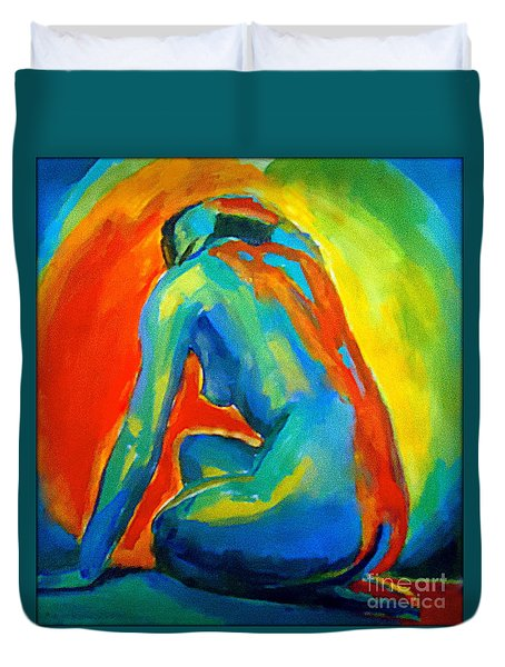 Seated Nude Facing A Star Duvet Cover