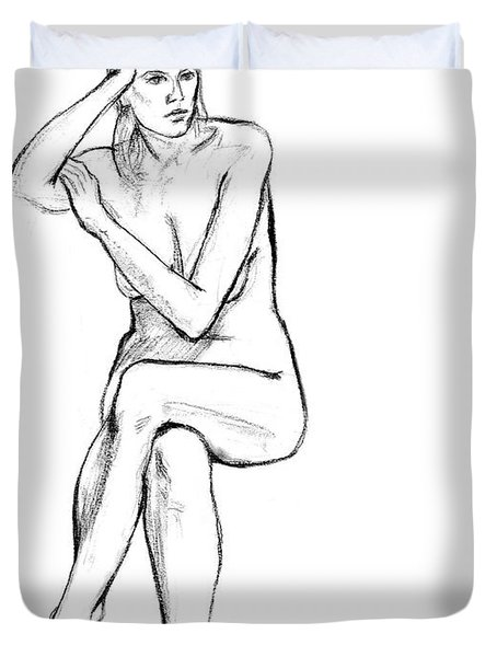 Seated Nude Woman Duvet Cover by Adam Long