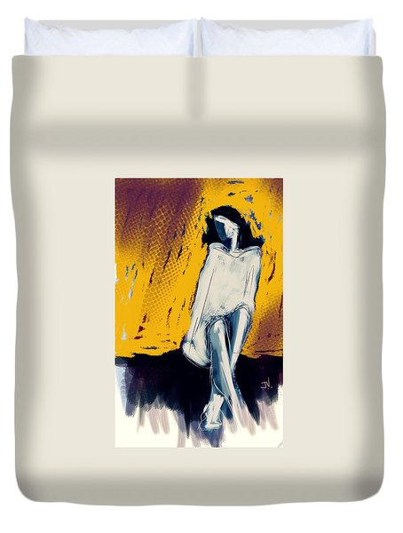 Seated On The Edge Duvet Cover by Jim Vance