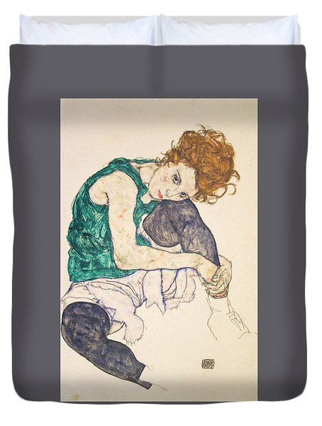 Seated Woman With Legs Drawn Up Duvet Cover