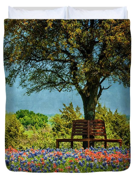Duvet Cover featuring the photograph Seating For Two by Ken Smith