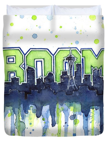 Seattle 12th Man Legion Of Boom Watercolor Duvet Cover