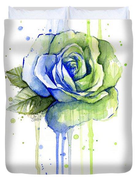 Seattle 12th Man Seahawks Watercolor Rose Duvet Cover