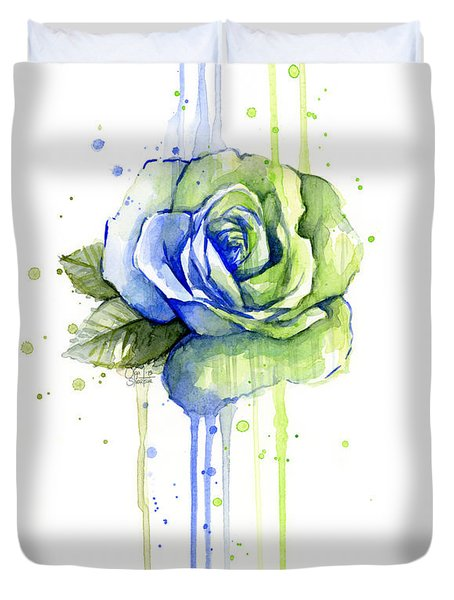 Seattle 12th Man Seahawks Watercolor Rose Duvet Cover by Olga Shvartsur