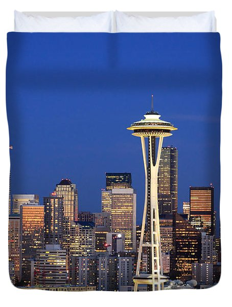 Seattle At Dusk Duvet Cover by Adam Romanowicz