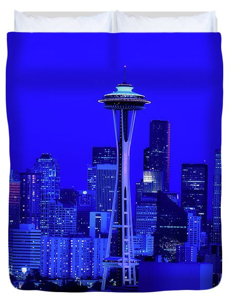 Seattle Blue Hour Duvet Cover by L O C