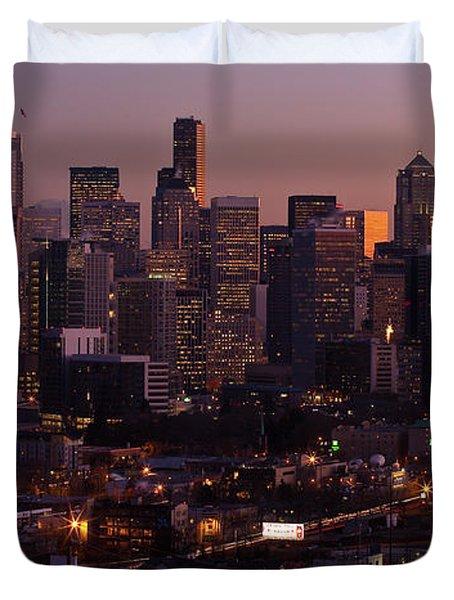 Seattle Dusk Duvet Cover by Mike Reid