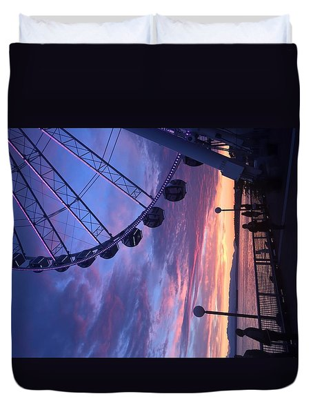 Seattle Ferris Wheel Duvet Cover