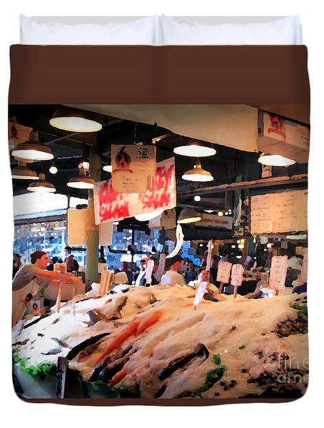 Duvet Cover featuring the photograph Seattle Fish Throw Pike St Market by Peter Simmons