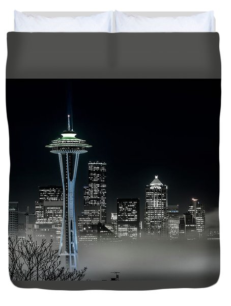 Seattle Foggy Night Lights In Bw Duvet Cover