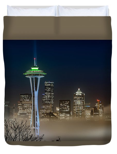 Seattle Foggy Night Lights Duvet Cover by Ken Stanback
