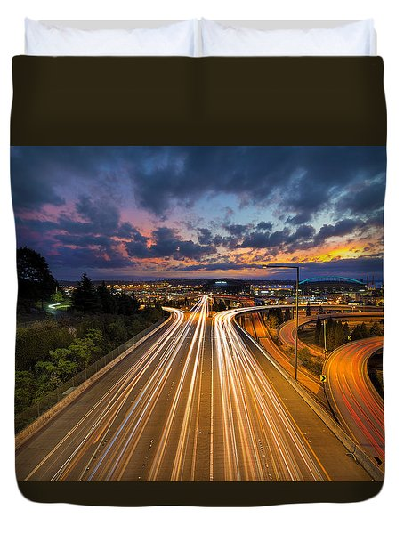 Seattle Freeway Light Trails Duvet Cover by David Gn