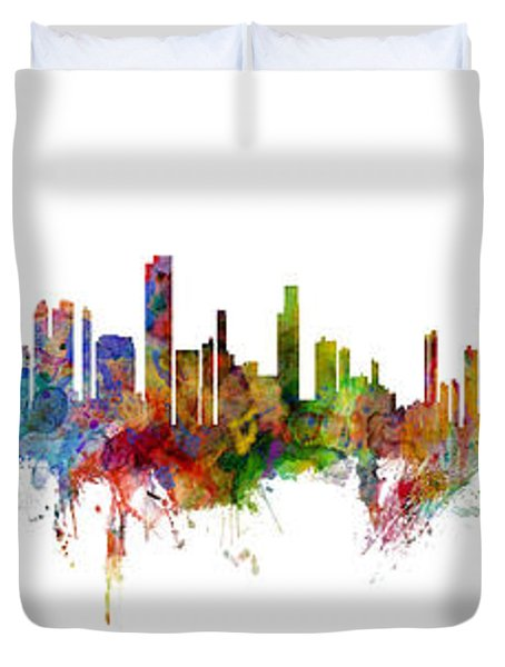 Seattle, Honolulu And Miami Skylines Mashup Duvet Cover