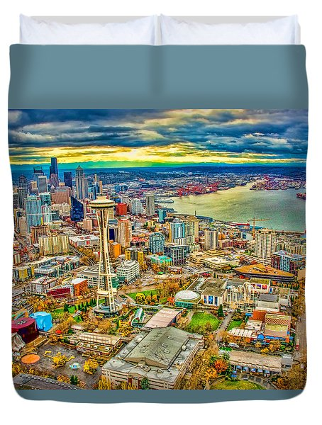 Duvet Cover featuring the photograph Seattle by Jerry Cahill