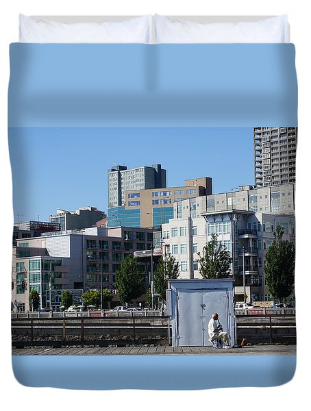 Seattle Lines  Duvet Cover by Cathy Anderson