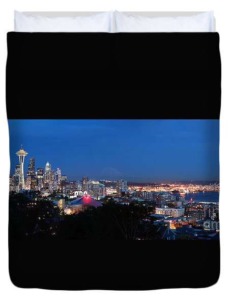 Duvet Cover featuring the photograph Seattle Panorama At Twilight by Peter Simmons