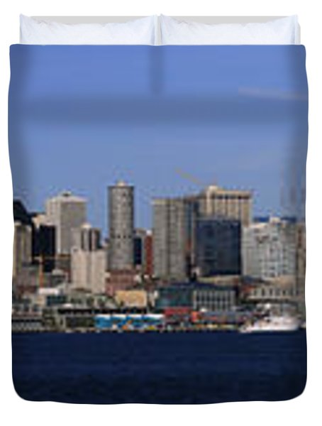 Seattle Panoramic Duvet Cover by Adam Romanowicz