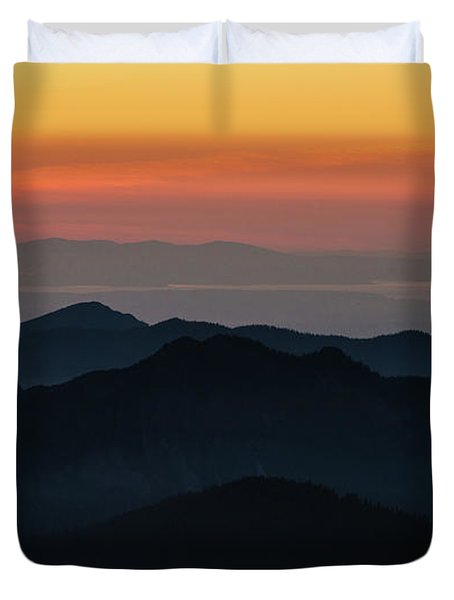 Seattle Puget Sound And The Olympics Sunset Layers Landscape Duvet Cover