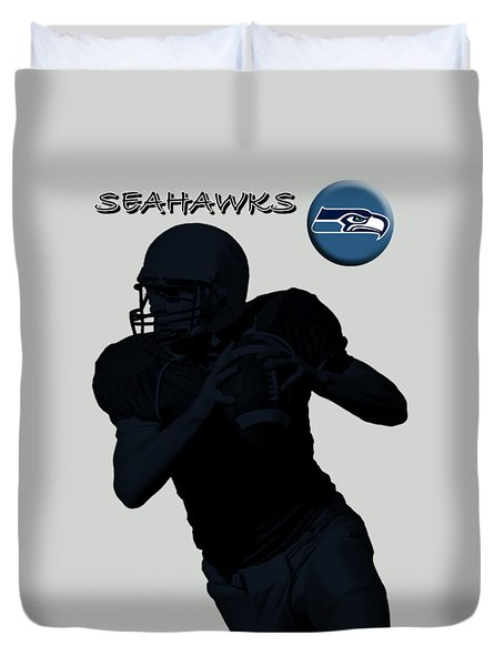 Seattle Seahawks Football Duvet Cover by David Dehner
