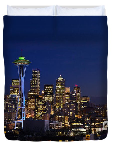 Seattle Seahawks Space Needle Duvet Cover
