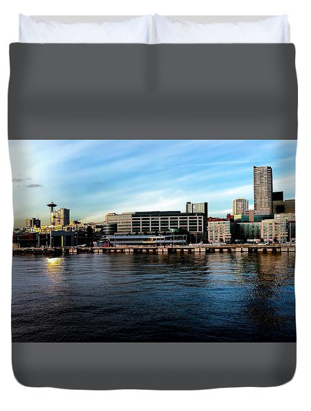 Seattle Skyline 5 Duvet Cover by Cathy Anderson
