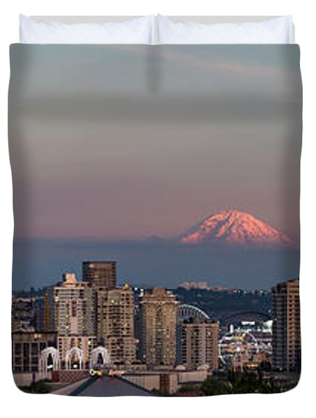 Duvet Cover featuring the photograph Seattle Skyline And Mt. Rainier Panoramic Hd by Adam Romanowicz