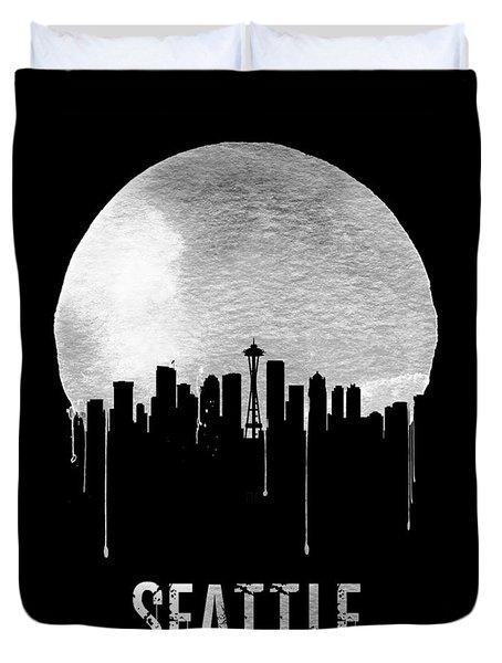 Seattle Skyline Black Duvet Cover
