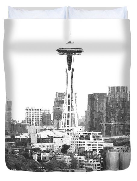 Seattle Skyline Splash And Dash Duvet Cover
