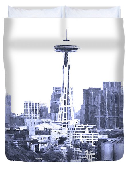 Seattle Skyline Splash And Dash In Blue Duvet Cover