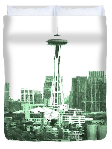 Seattle Skyline Splash And Dash In Green Duvet Cover