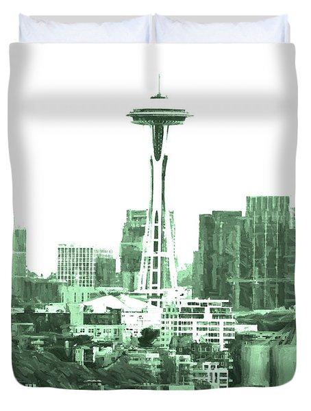 Seattle Skyline Splash And Dash In Green Duvet Cover