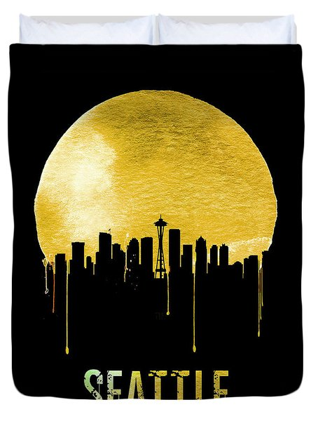 Seattle Skyline Yellow Duvet Cover by Naxart Studio