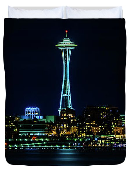 Seattle Space Needle At Night Duvet Cover