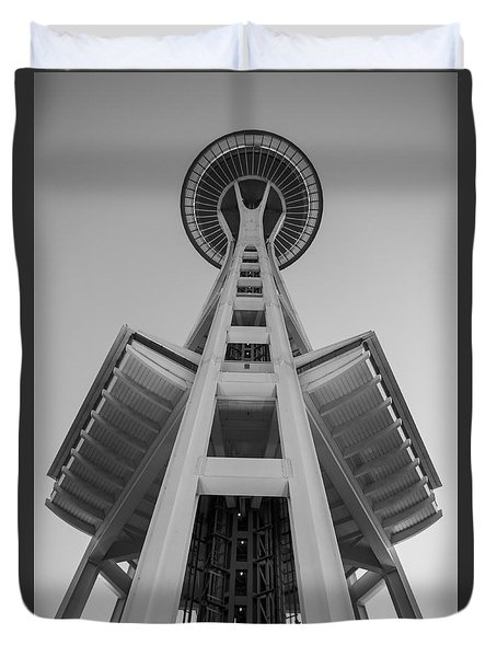 Seattle Space Needle In Black And White Duvet Cover by Patrick Fennell