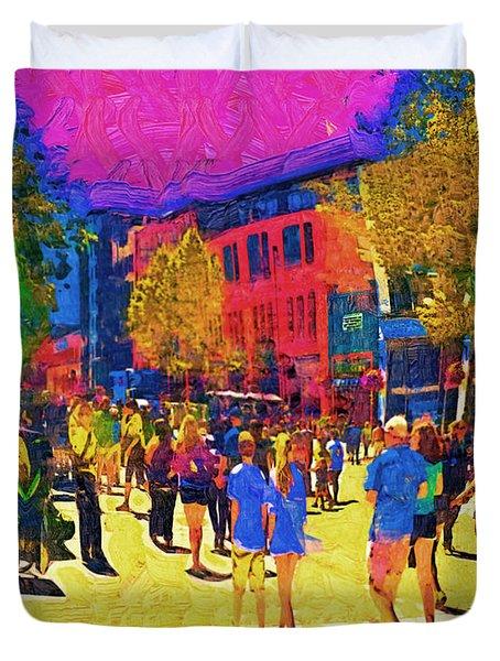 Seattle Street Scene Duvet Cover