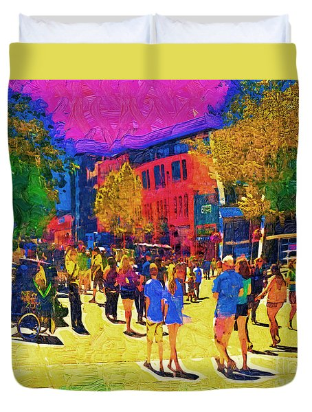 Seattle Street Scene Duvet Cover