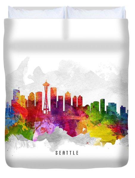 Seattle Washington Cityscape 13 Duvet Cover by Aged Pixel