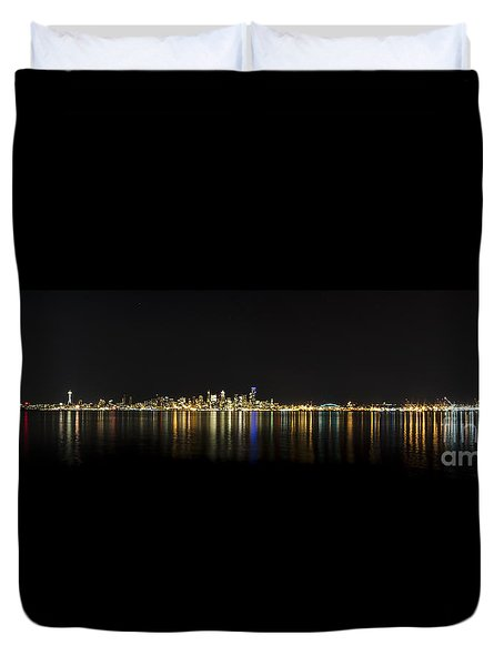 Seattle Washington Skyline From Alki Seacrest Park At 10mm Duvet Cover by Patrick Fennell