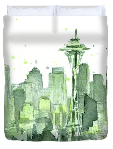 Seattle Watercolor Duvet Cover by Olga Shvartsur