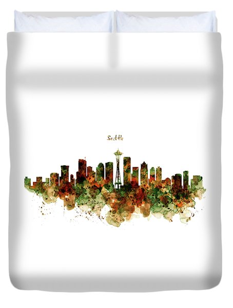 Duvet Cover featuring the mixed media Seattle Watercolor Skyline Poster by Marian Voicu